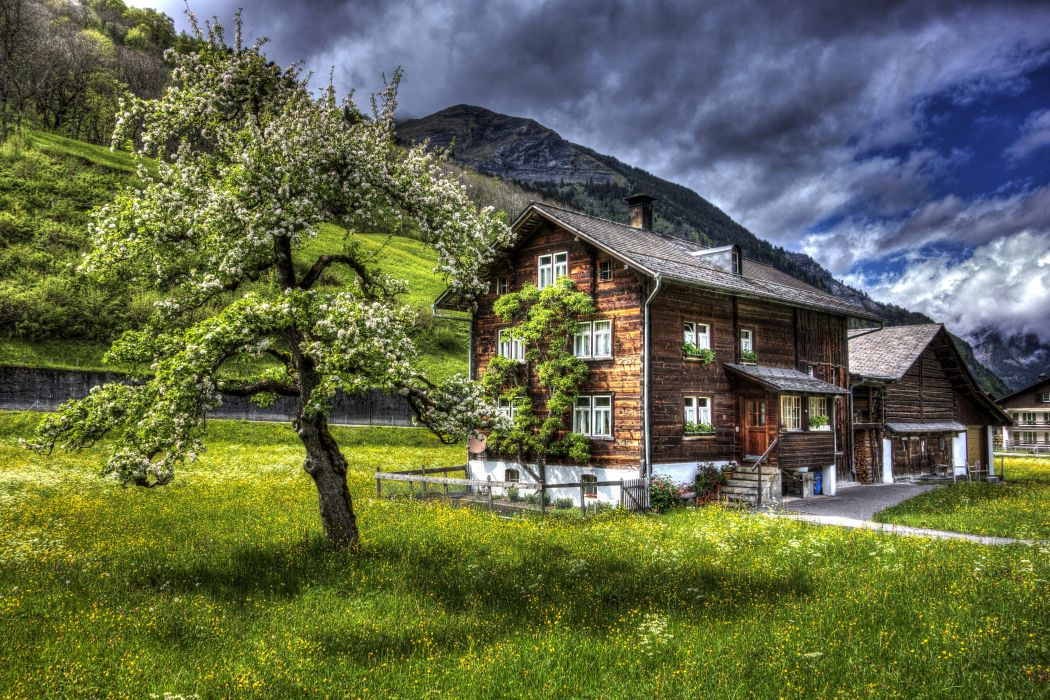 Switzerland Houses Mountains Sky HDR Trees Grass Elm Cities Nature wallpaper