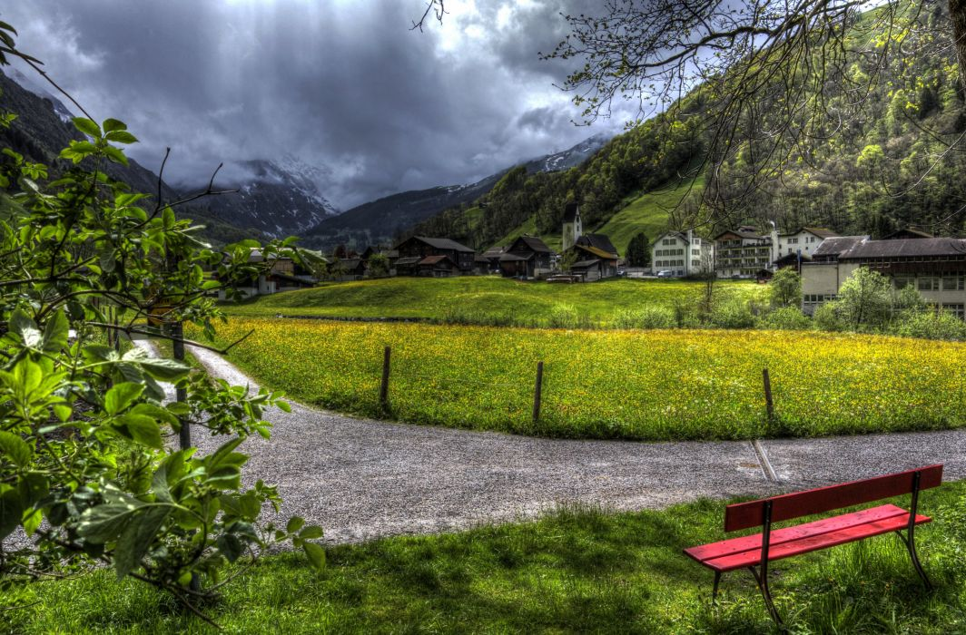 Switzerland Houses Mountains Sky Grass Bench HDR Elm Cities wallpaper
