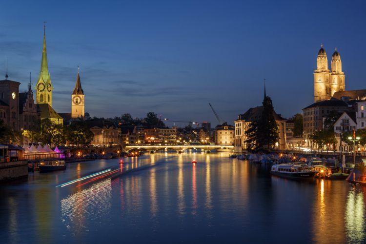 Switzerland Houses Rivers Bridges Marinas Sky Night Street lights Zurich Cities wallpaper