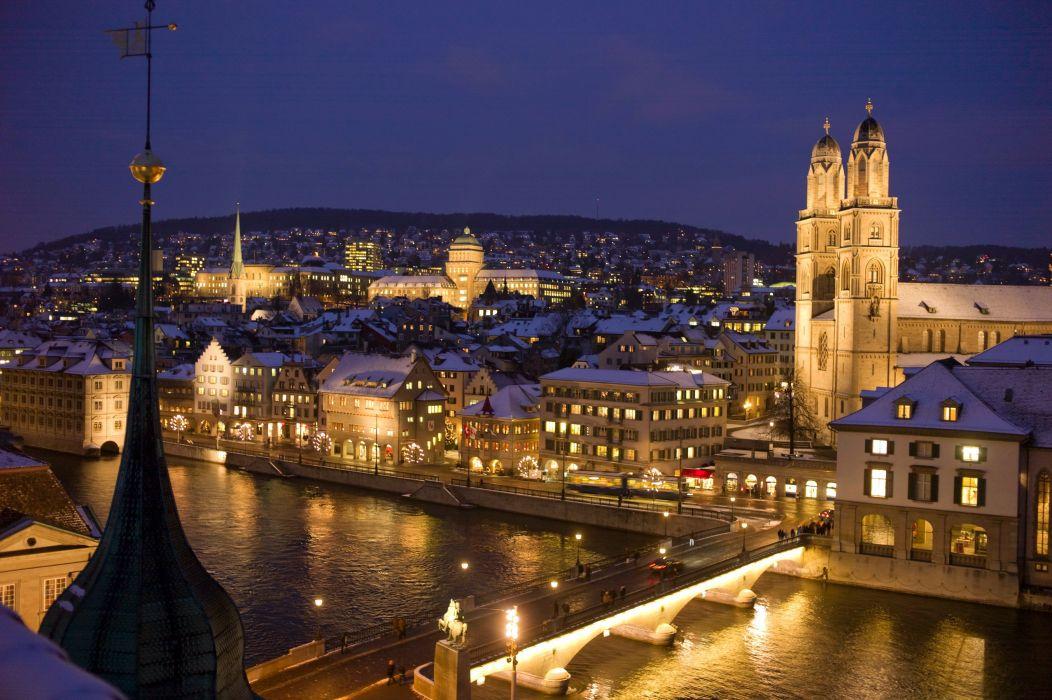 Switzerland Houses Rivers Bridges Night Street lights Zurich Cities r wallpaper