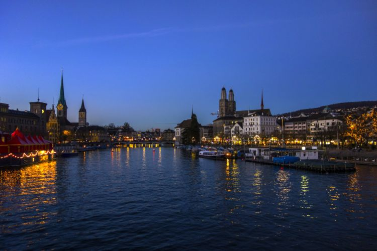 Switzerland Houses Rivers Marinas Sky Night Zurich Cities wallpaper