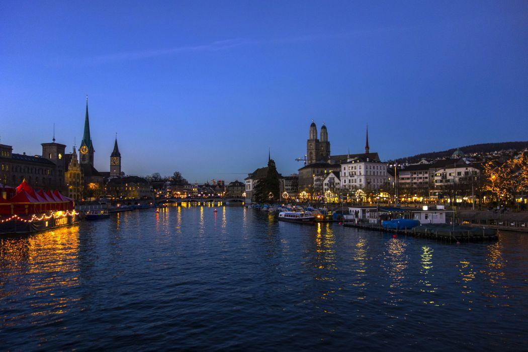 Switzerland Houses Rivers Marinas Sky Night Zurich Cities wallpaper