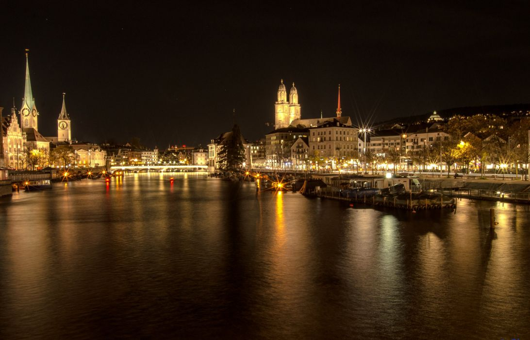 Switzerland Houses Rivers Night Canal Zurich Cities wallpaper