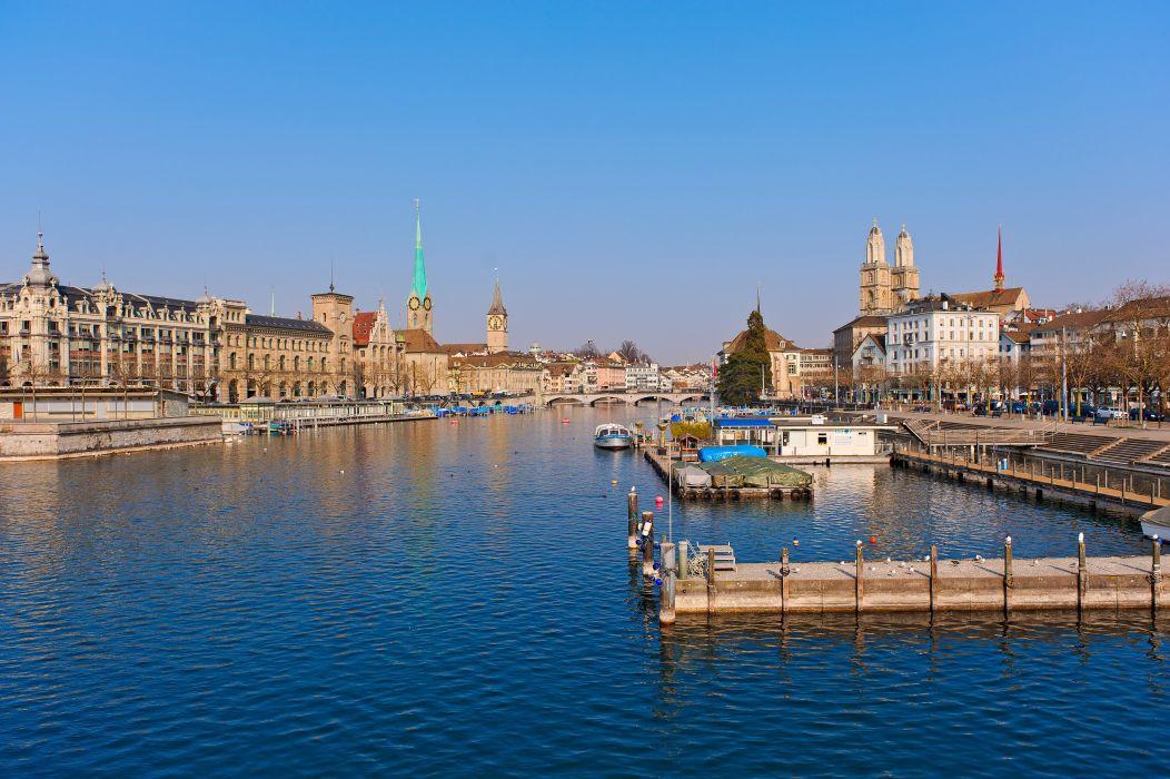 Switzerland Houses Rivers Marinas Cities wallpaper