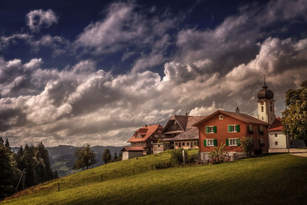 Switzerland Houses Sky Grass Clouds Heiligkreuz Cities wallpaper