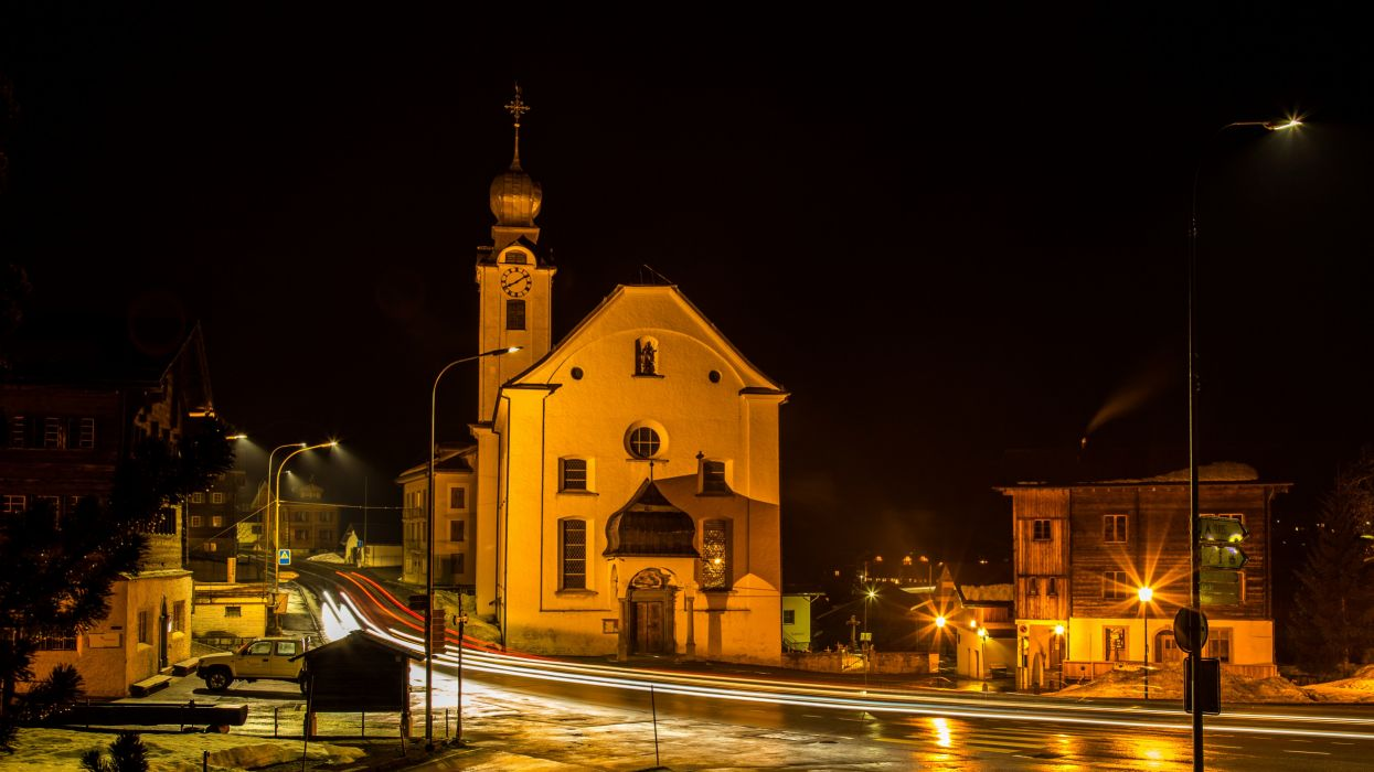 Switzerland Houses Temples Roads Street Night Street lights Reckingen Cities wallpaper