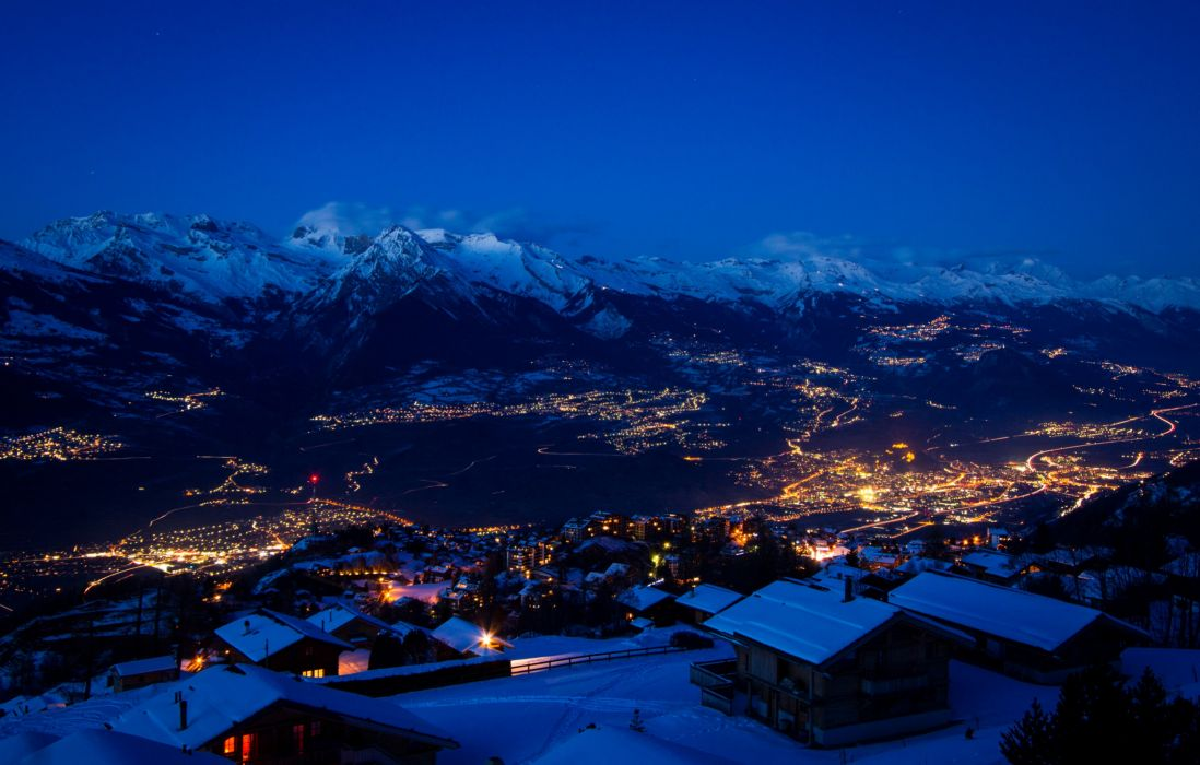 Switzerland Houses Winter Mountains Night Snow Sion Cities wallpaper