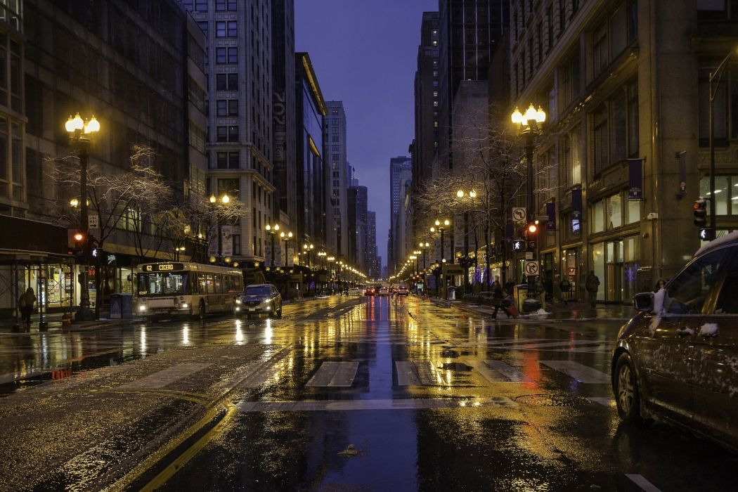 USA Houses Roads Street Night Street lights Chicago city Cities wallpaper