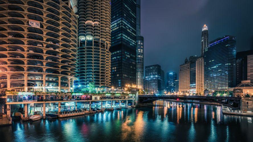 USA Houses Skyscrapers Rivers Bridges Marinas Chicago city Night Street lights Cities wallpaper