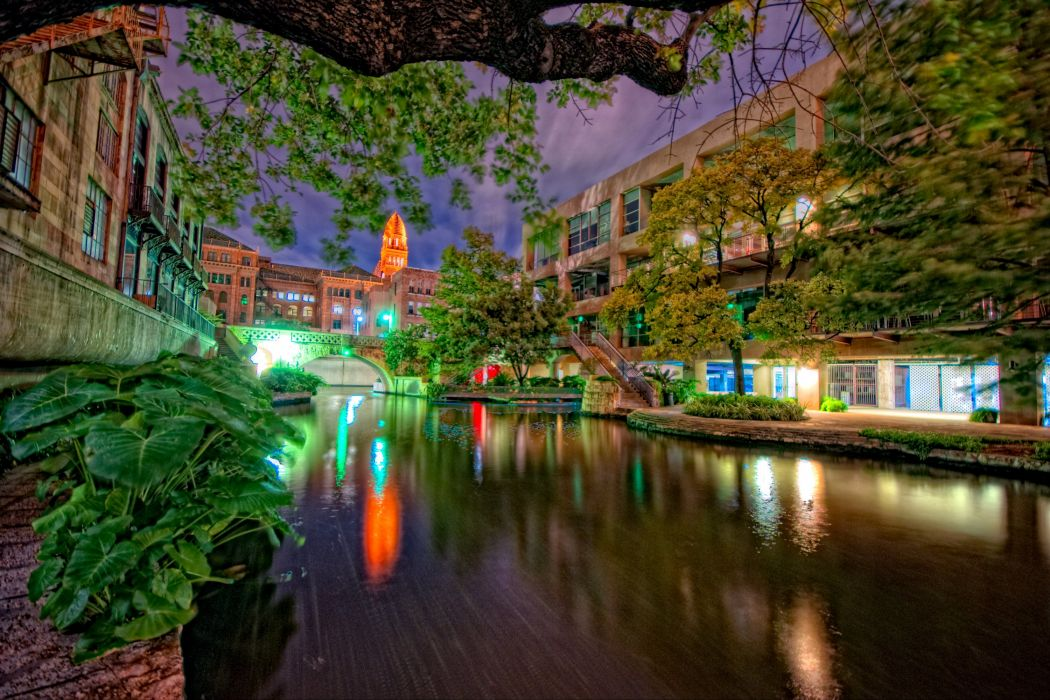 USA Houses Texas Canal Night Street lights San Antonio Cities wallpaper
