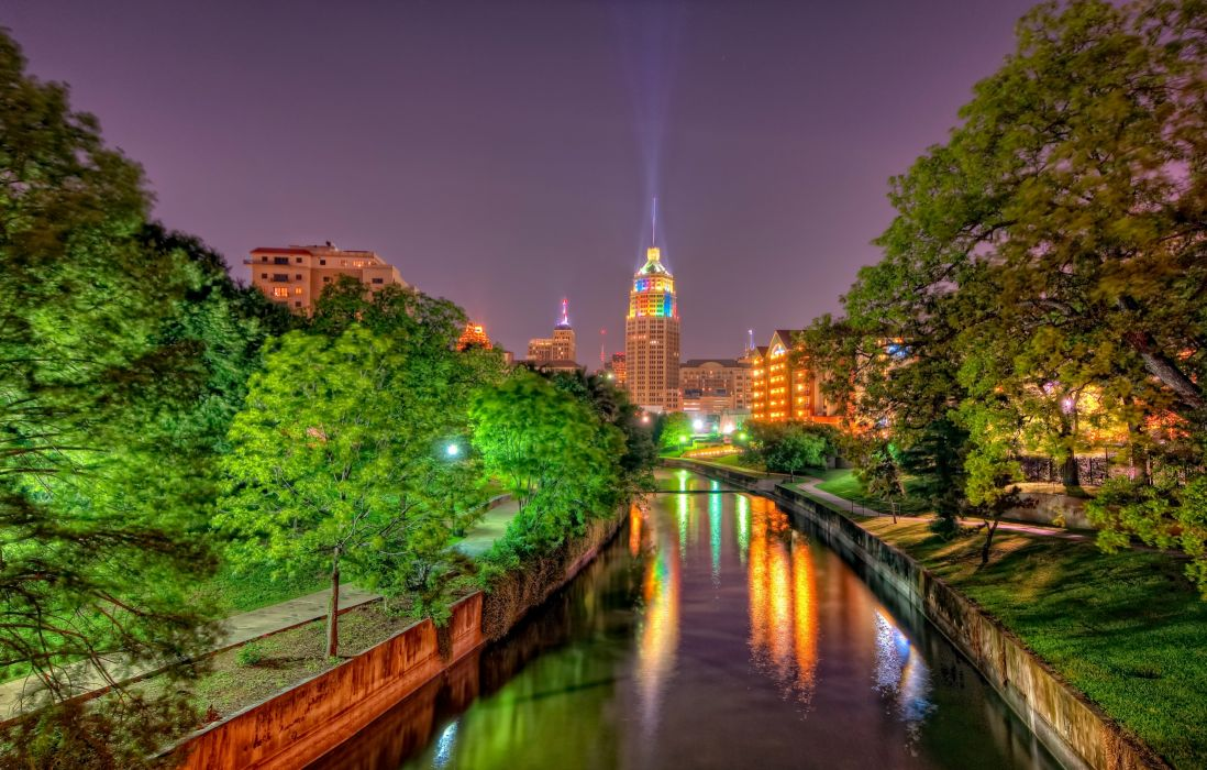 USA Houses Texas Canal Night Street lights Trees HDR San Antonio Cities wallpaper