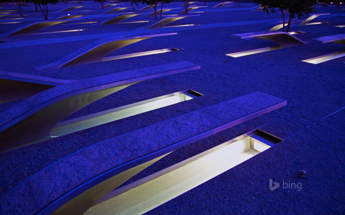 USA Night bing Pentagon Memorial Cities wallpaper