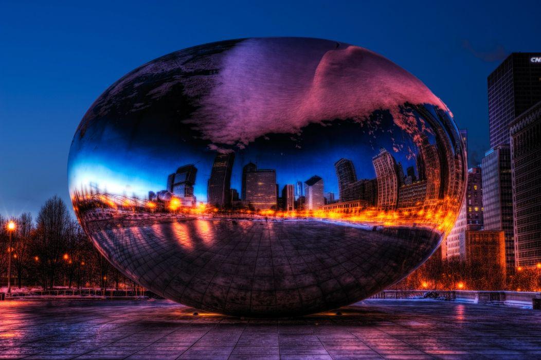 USA Parks Chicago city millennium park Spaceship Earth Cities wallpaper