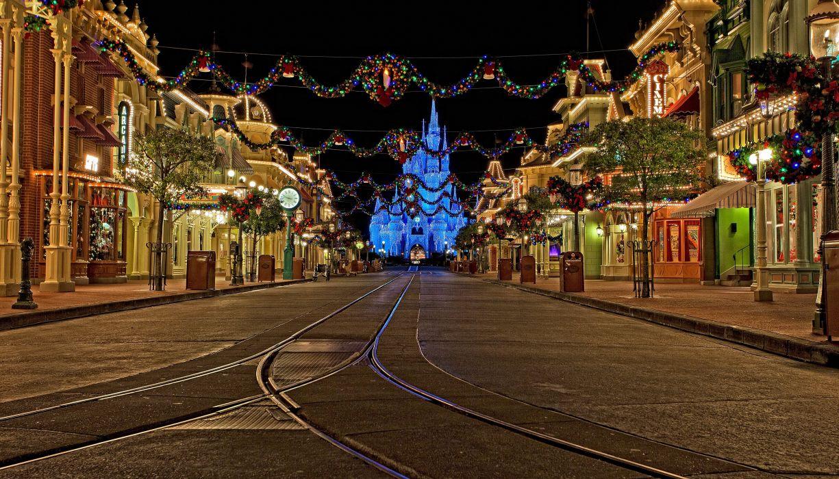 USA Parks Disneyland Christmas Houses California Anaheim Street Night Fairy lights Cities wallpaper