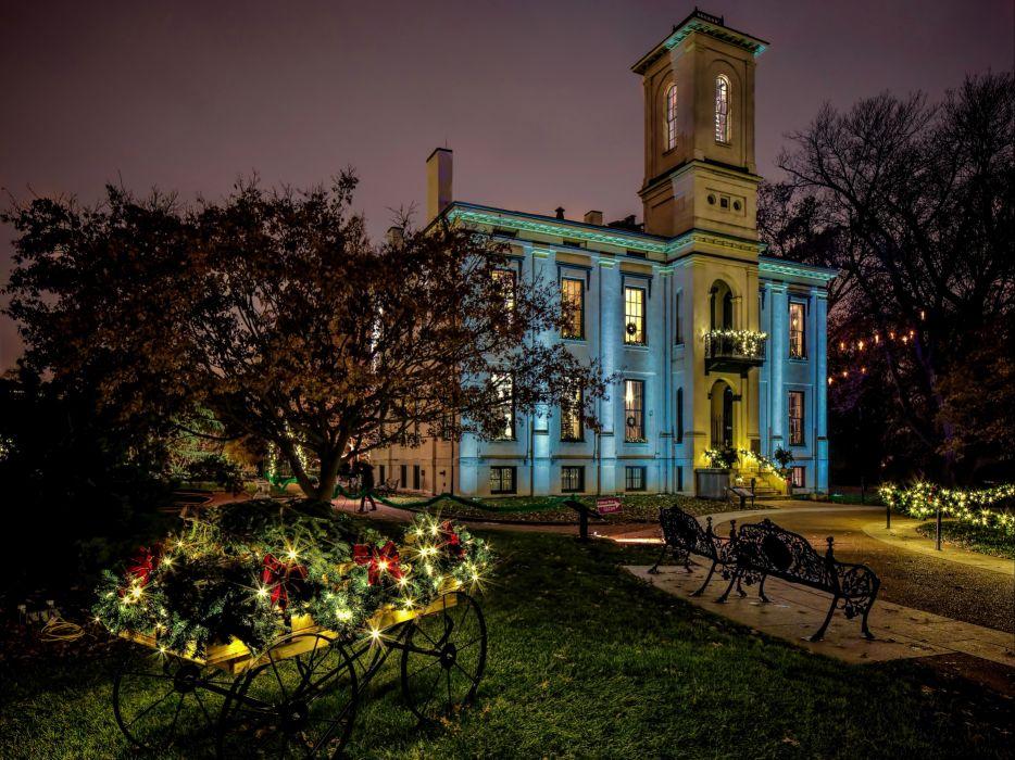 USA Parks Houses Bench Fairy lights Lawn Saint Louis Missouri Botanical Garden Cities wallpaper
