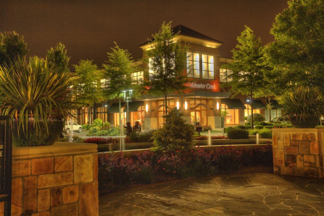 USA Parks Disneyland Houses California Anaheim Trees Shrubs Night Street lights Cities wallpaper
