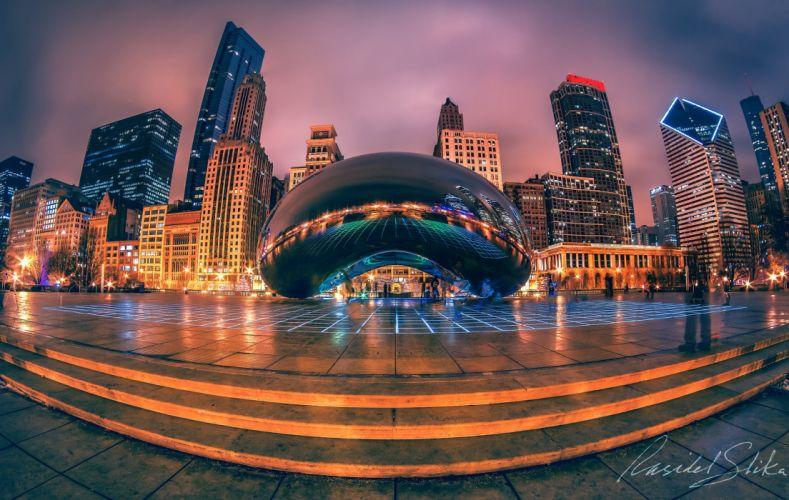 USA Sculptures Houses Chicago city Street Night Cities wallpaper