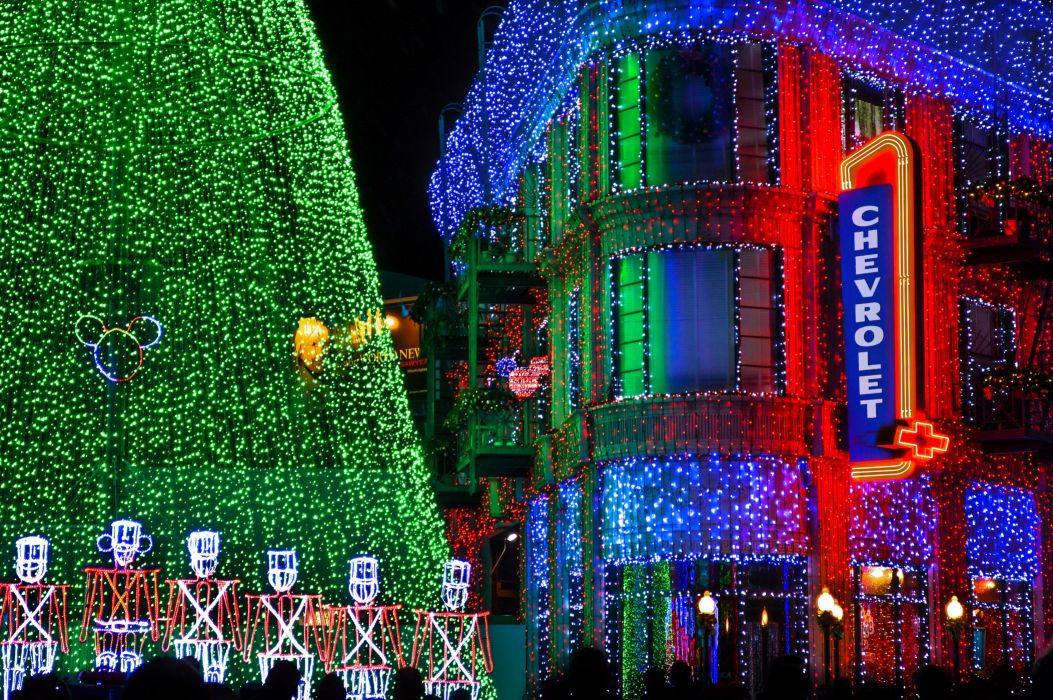USA Parks Disneyland Houses Holidays Christmas California Anaheim Night Fairy lights Cities wallpaper
