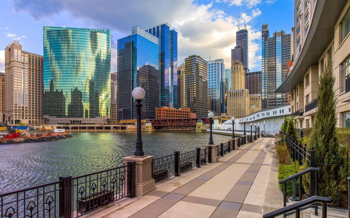 USA Skyscrapers Houses Chicago city Street Waterfront Cities wallpaper