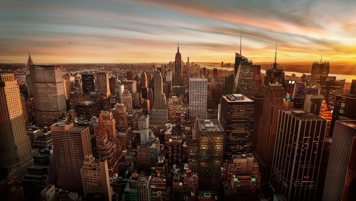 USA Skyscrapers Houses Manhattan New York City Megapolis Cities wallpaper