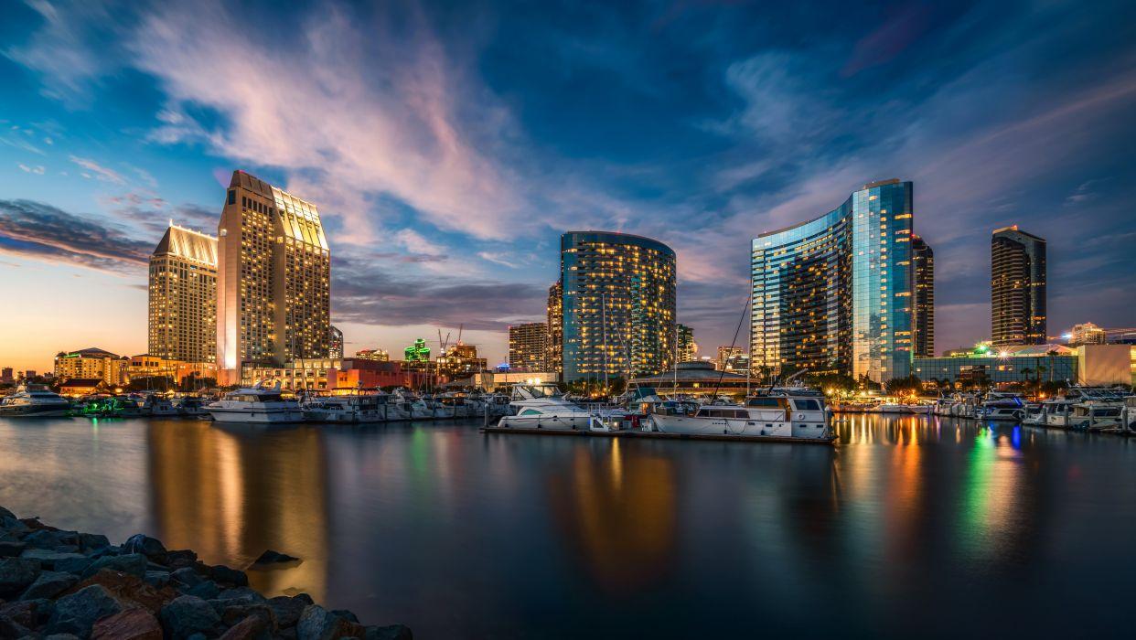 USA Scenery Skyscrapers Sky Marinas Yacht San Diego Night Cities wallpaper