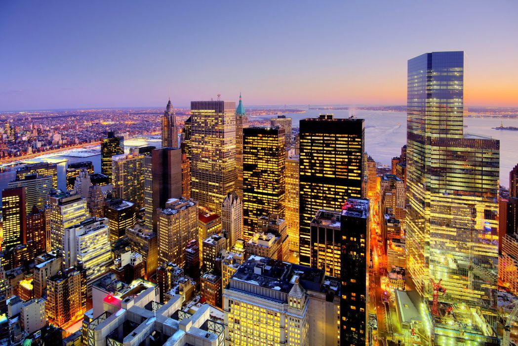 USA Skyscrapers Houses New York City Megapolis Night Cities wallpaper