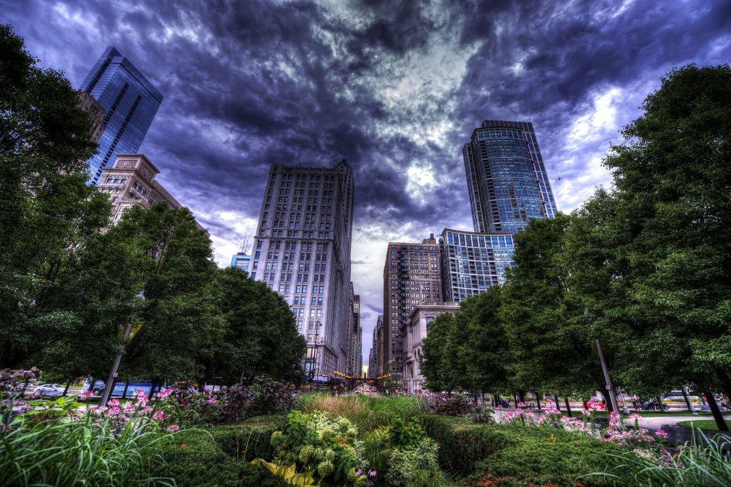 USA Skyscrapers Chicago city HDR Clouds Street Trees Shrubs Cities wallpaper