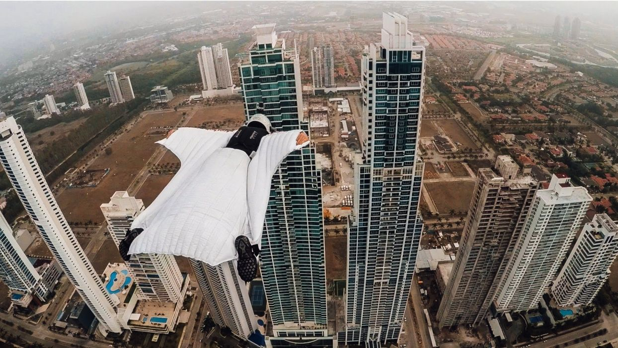 Wingsuit Panama City Skyline wallpaper