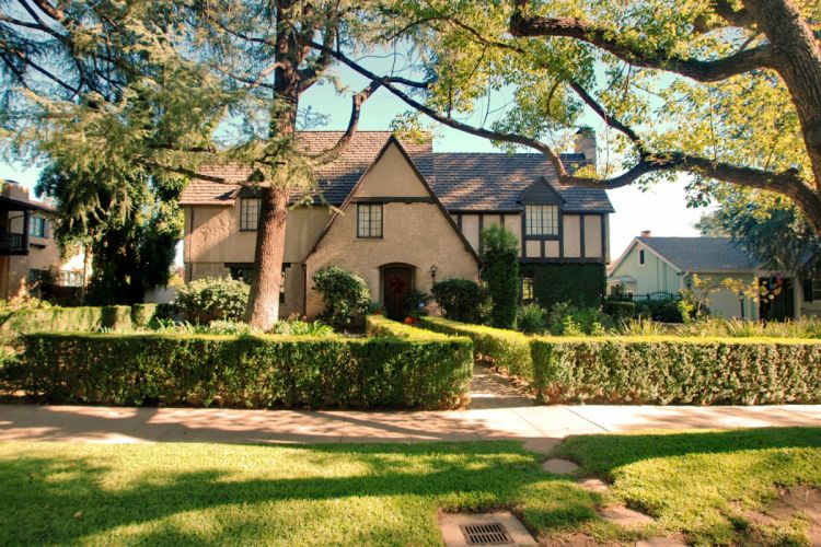 USA Houses California Street Shrubs Trees Pasadena Cities wallpaper