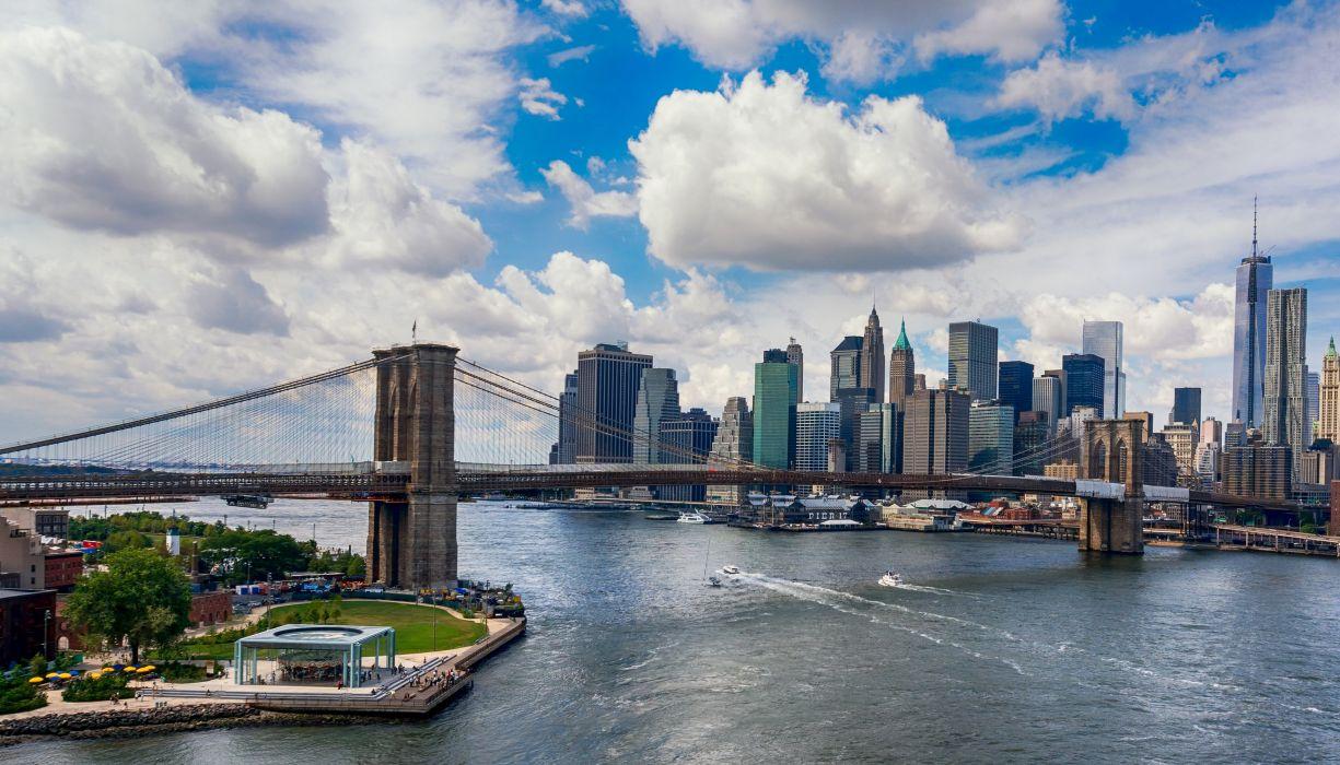 USA Houses Bridges Sky Manhattan New York City Clouds Cities wallpaper