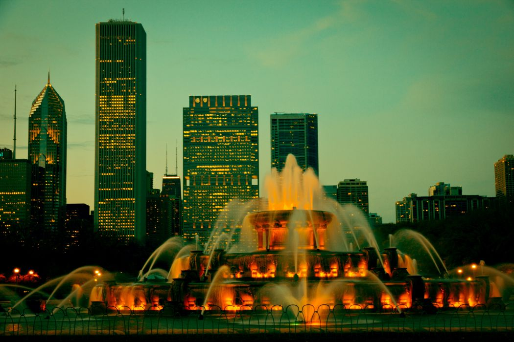 USA Fountains Houses Chicago city Illinois Cities wallpaper