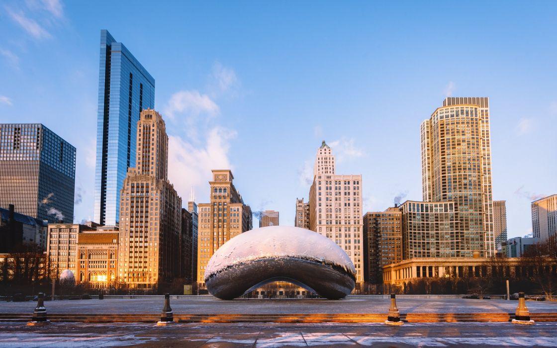 USA Houses Chicago city Street Frozen Bean Cloud Gate Cities wallpaper