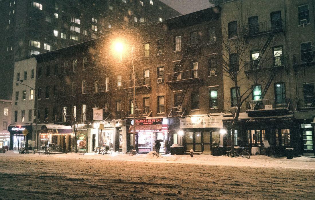 USA Houses Manhattan New York City Street Snow Street lights storm Cities wallpaper