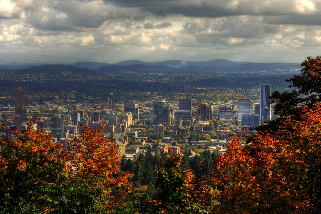 USA Houses Mountains Autumn Clouds Portland Cities wallpaper