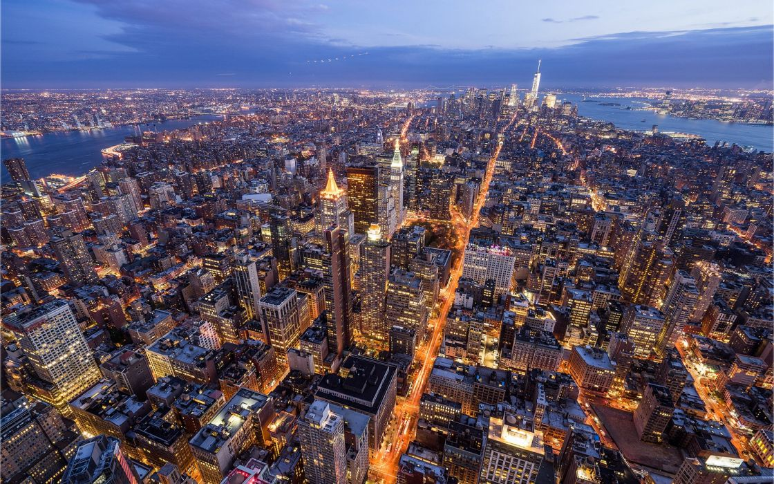 USA Houses New York City Manhattan From above Megapolis Cities wallpaper