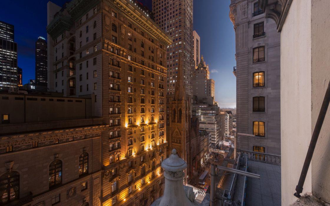 USA Houses New York City Street Night 5th aveniu newyork Cities wallpaper