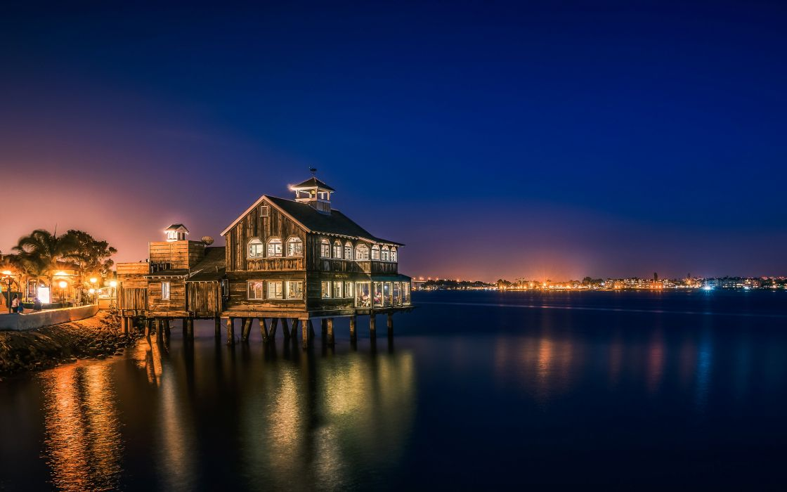 USA Houses Ocean San Diego Night Street lights Cities wallpaper
