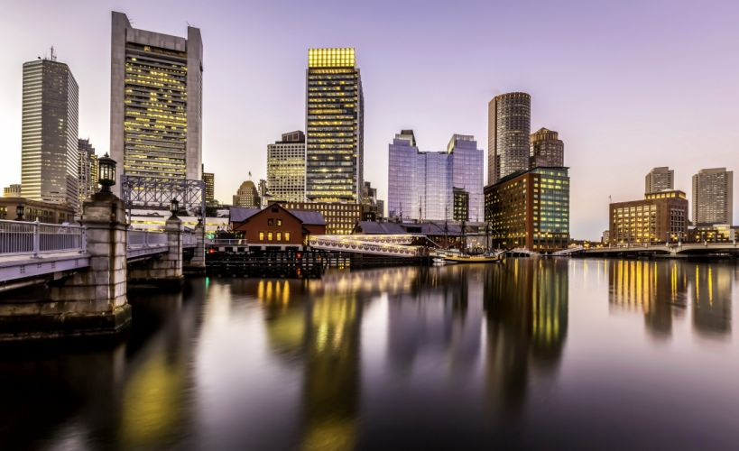 USA Houses Rivers Bridges Marinas Boston Massachusetts Cities wallpaper