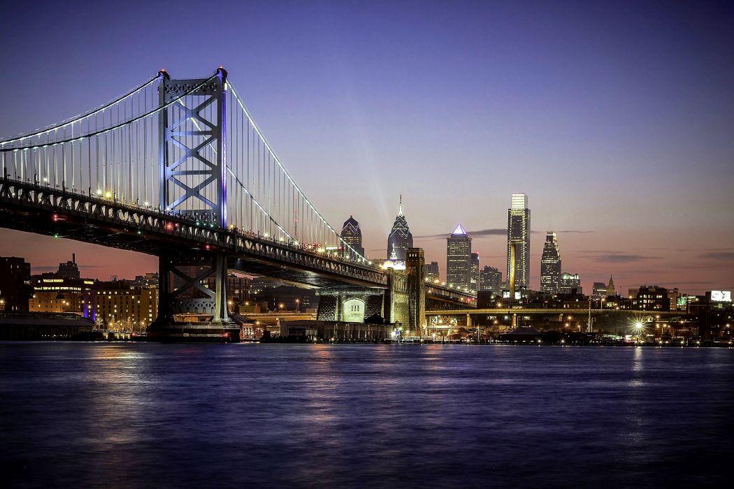 USA Houses Rivers Bridges Night Street lights Philadelphia Cities wallpaper