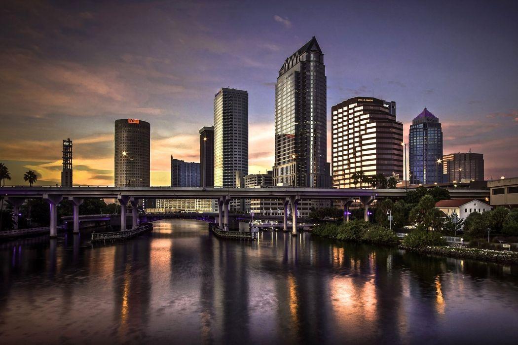 USA Houses Rivers Bridges Tampa Cities wallpaper