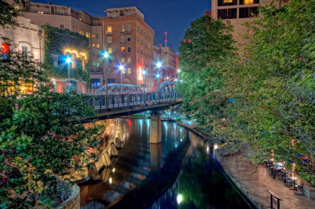 USA Houses Rivers Bridges Texas Night Street lights San Antonio Cities wallpaper