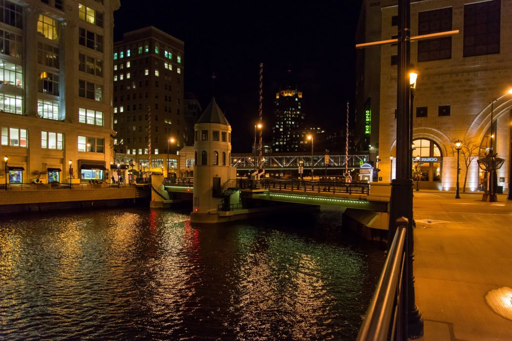 USA Houses Rivers Bridges Night Street lights Canal Milwaukee Wisconsin Cities wallpaper