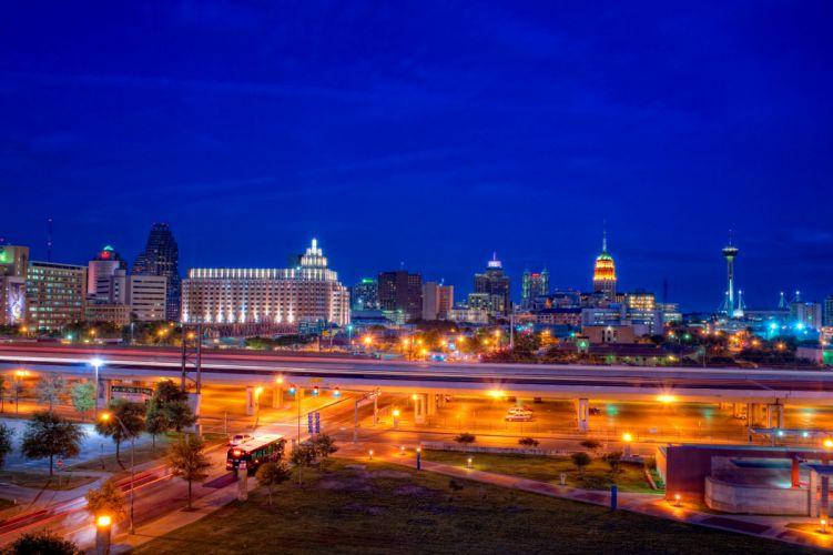 USA Houses Roads Night Street lights San Antonio Cities wallpaper
