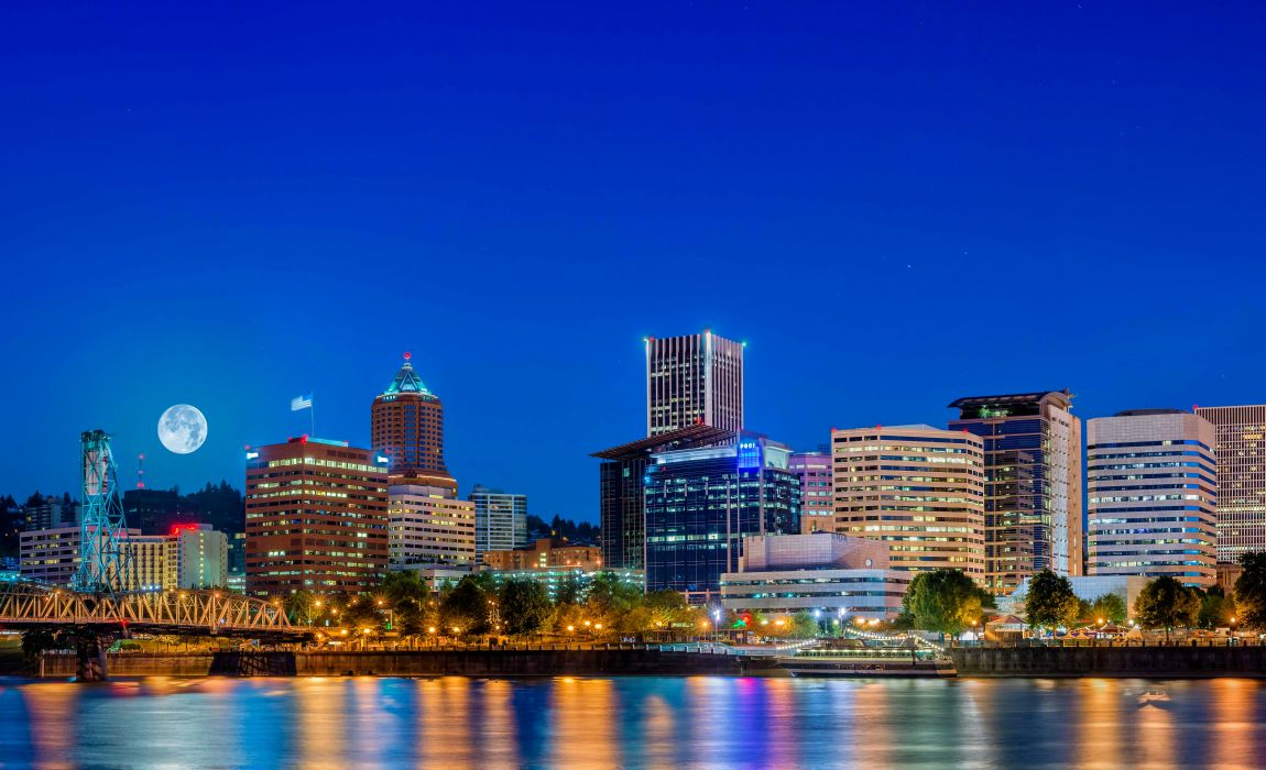 USA Houses Rivers Marinas Night Moon Portland Cities wallpaper