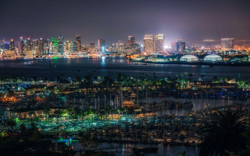 USA Houses Rivers Marinas San Diego Megapolis Night Cities wallpaper