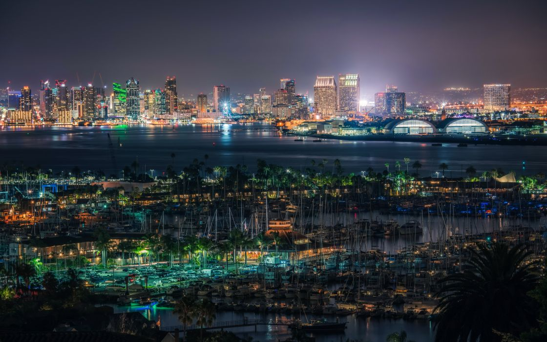 USA Houses Rivers Marinas San Diego Megapolis Night Cities wallpaper
