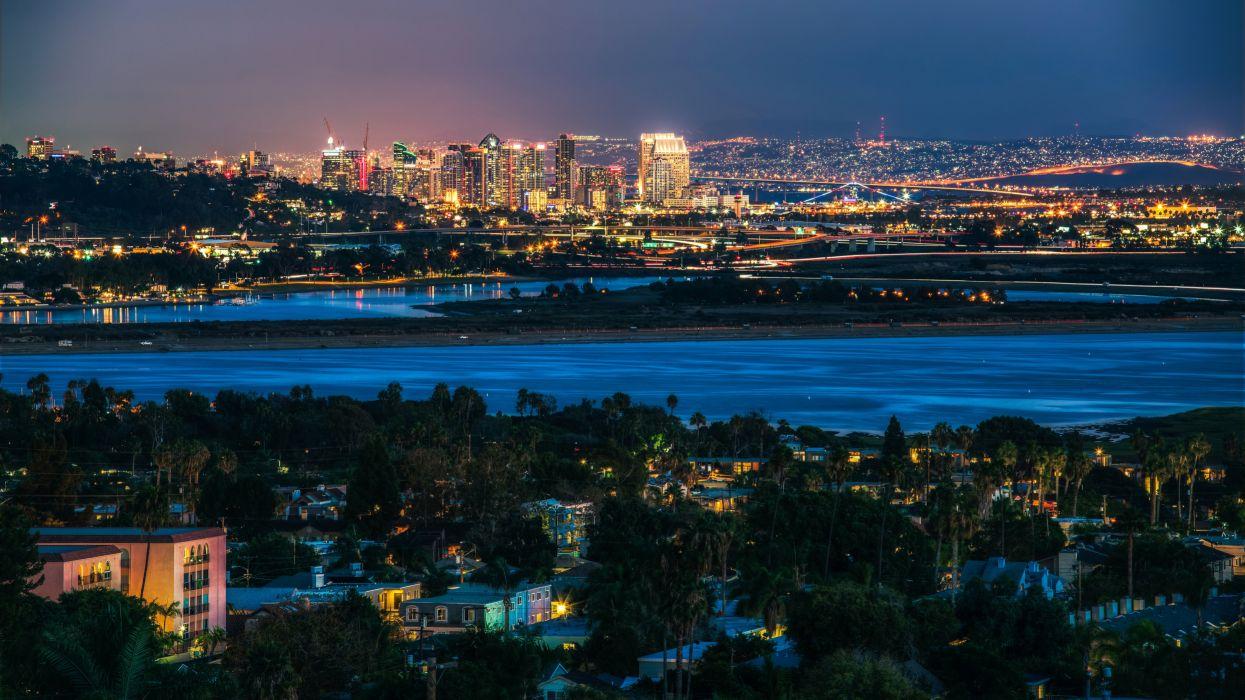 USA Houses Rivers San Diego Megapolis Night Cities wallpaper