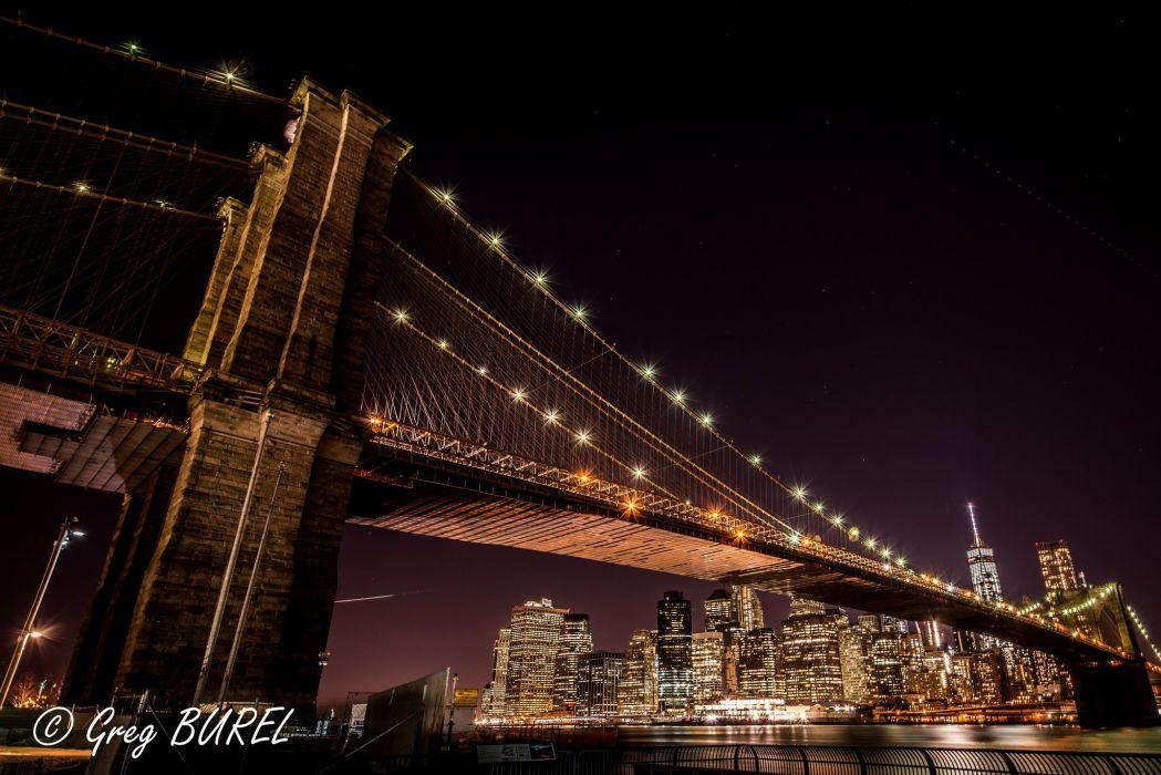 new york city night bridge towers wallpaper