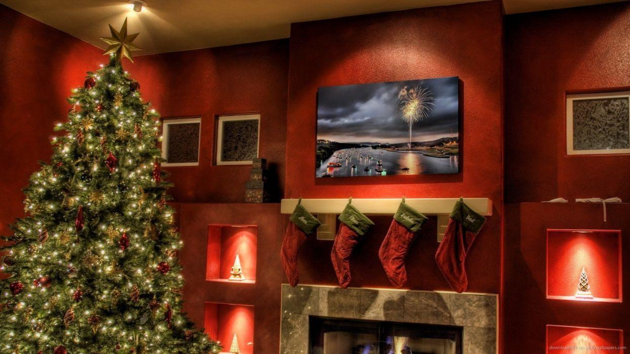 arbol navidad calcetines chimenea wallpaper
