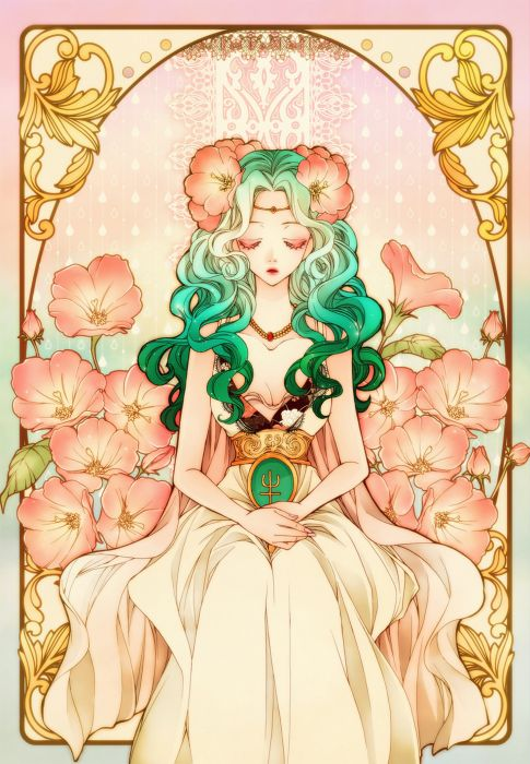 anime series sailor moon dress girl beautiful long hair flower character wallpaper